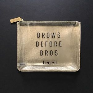 """Benefit Cosmetic Bag """"Brows Before Bros"""" NEW"""